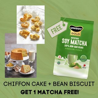 (FREE UNISOY GOLD MATCHA) Bundle of Soy Chiffon Cake + Bean Biscuit